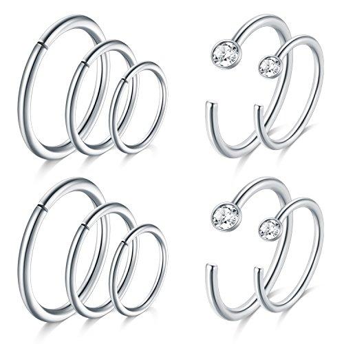 4b80af6f2 JFORYOU Silver Nose Rings Hoop Cartilage Hoop Helix Earrings Stainless  Steel Ear Tragus Piercing 18G 6mm
