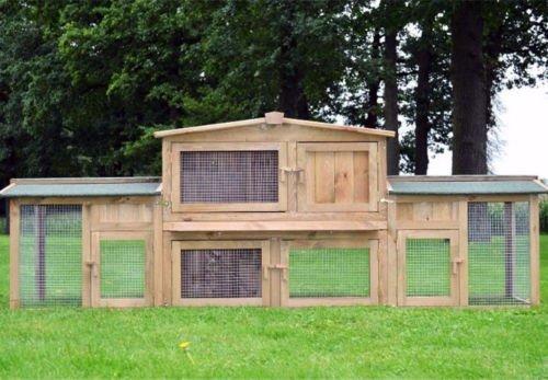 Zooprimus Conigliera in legno Robusta grande spazio aperto molteplici aperture protezione in griglia metallica resistente ad agenti atmosferici 011 Dr. Hase