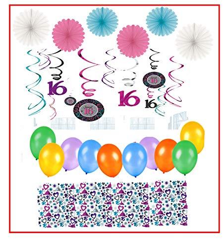 Amscan.int 16. Geburtstag 16 Jahre Sweet 16 Deko Set aus 10 farbenfrohe Luftballons + 70g Konfetti + Dekowirbel, 6 x Deko-fächer