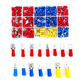 140 Pieces Electrical Connectors Kit Wire Terminal Crimp Connector 22-16/16-14 Gauge Fork Spade Quick Splice Crimp Terminals Connectors Male Female Disconnect Fully Insulted Female Connector (280pcs)