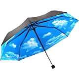 PANGUN Anti UV Sonnenschutz Schirm Blau Himmel 3 Faltbar Sonnenschirme Regenschirm