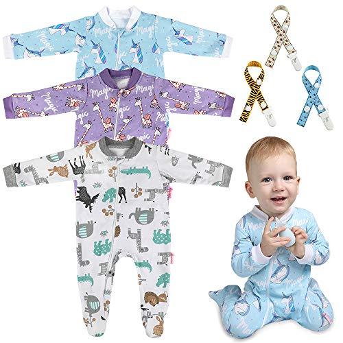 Lictin Strampler Baby Strampler Schlafstrampler Babykleidung Baumwolle Strampler mit Baby Schnuller Band für Neugeborene 6-10 Monate, Mädchen, 6-10 Moate