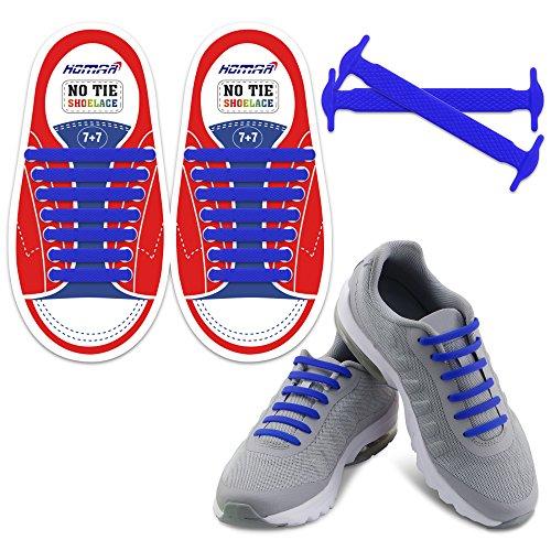 Homar Reflective Kinder No Lock No Tie Shoelaces mit High Performance - Best in No Tie Schnürsenkel Ersatz Zubehör - Athletic Flach Schnürsenkel - Blau (Athletic Hat)