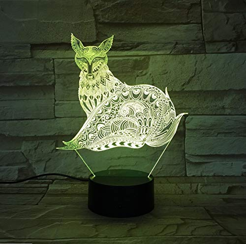 Lámpara 3D Fox Luces De Noche Con Toque Lámpara De Mesa Como Regalos De Niños 7 Cambiar De Hogar Inicio Decoración Para Fiesta Fuente De Batería O Suministro De Batería (Mesa De Para Halloween Decoracion)