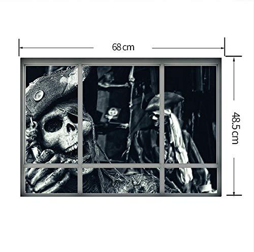 Kreative Stereoscopic 3D Gefälschte Fenster Wandaufkleber Halloween Schädel Piratewall Aufkleber Für Wohnzimmer Schlafzimmer Dekoration (Whiteboard Ideen Halloween)