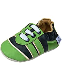 Zapatillas de Cuero Zapatos CASA Gatear Bebé Calzado de Aprendizaje con Suela de Goma Gr.19-31 Por lappade Sport Verde-Blanco Art.110g