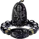 Anillo de mano negro para hombres, pulsera de obsidiana, pulsera de joyería, pulsera de eslabones para niños y niñas, pulsera de zodiaco de Buda, pulsera de cuentas para mujer
