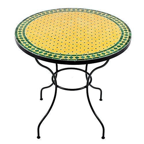 albena Marokko Galerie 15-122 Anuk Marokkanischer Mosaiktisch 80cm rund (Anuk: gelb/grün)