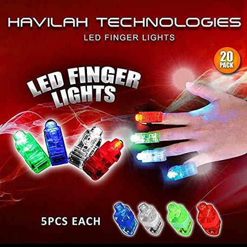20Pcs super helle LED-Finger beleuchtet Finger-Taschenlampe leuchten Spielwaren Partei-Bevorzugungs-Versorgungsmaterialien (Mischfarbe) ()