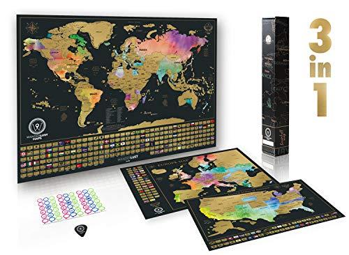 Rubbelkarte ultimatives Set (Welt, USA und Europa) | Set mit 3 hochwertige Rubbelkarten und umfassendem Zubehör sowie allen Länderflaggen - Premium-Wandkunst-Geschenk