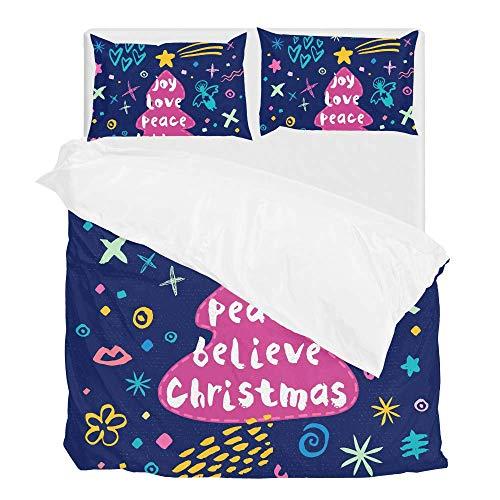 Jeansame Bettwäsche-Set, Bettbezug und Kissenbezug, niedlicher Weihnachtsbaum, Stern, Neujahr, für Kinder, Jungen, Mädchen, Damen, Herren, Multi, Twin - Männer Twin Bettbezug