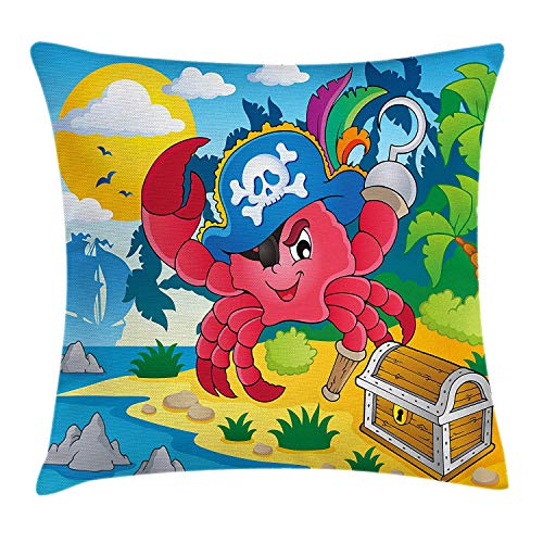 Pirate Throw Pillow Cushion Cover, Cute Cartoon Crab with Eye Patch Pirate Hat Hook Pegleg Deserted Island Coast Jungle, Decorative Square Accent Pillow Case, 18 X 18 inches, Multicolor (Eye Pirate Pink Patch)