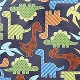 Marineblaues Wachstuch mit bunten Dinosauriern