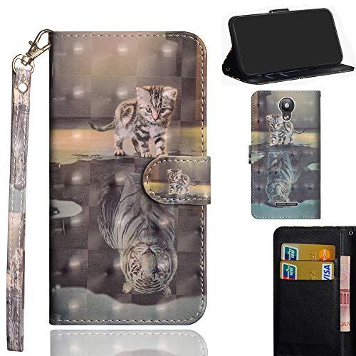 Ooboom Alcatel Pixi 4 5 Inch Hülle 3D Flip PU Leder Schutzhülle Handy Tasche Case Cover Ständer mit Trageschlaufe Magnetverschluss für Alcatel Pixi 4 5 Inch - Katze Tiger