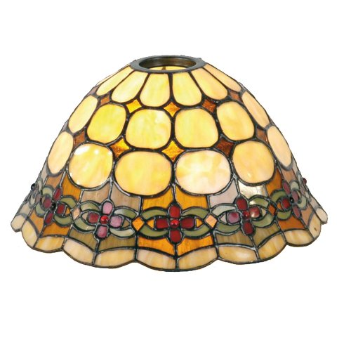 Lumilamp 5LL-8828 Lampenschirm Glas Tiffany Stil rund Ø 25 * 15 cm E27 / KH 6 cm dekoratives buntglas Tiffany Stil