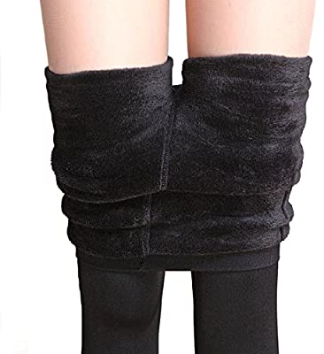 Shopolica Imported Feather Hot Woolen Legging/Full Foot Fleece lined Tights/Thermal Stretchy Leggings Pants/Winter Thick Warm Fleece/Fur Inside/Elastic Waist Band