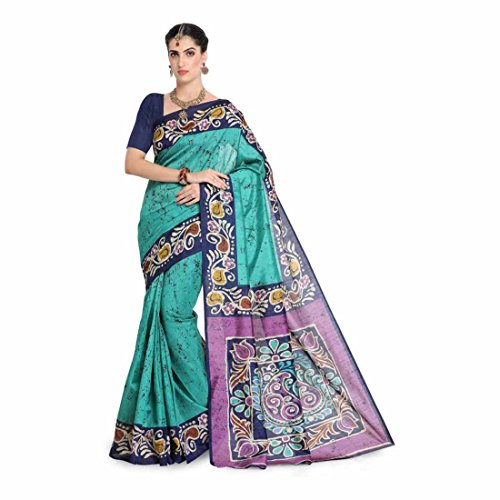 Printed, Paisley Bhagalpuri Art Silk Saree (Blue, Green) Paisley Printed Silk Dress