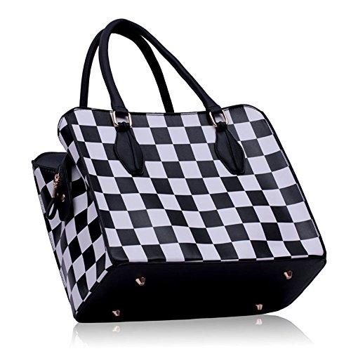 TrendStar Frauen Tote Handtasche Damen Handtasche Hobo Bag Designer Überprüfen Berühmtenart Schwarz