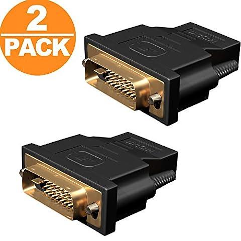 DVI auf HDMI, Act 2-Stück Vergoldet DVI-D zu HDMI Male zu Female Kabel HDTV Adapter Konverter (Schwarz) (2-Stück)