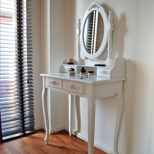 Tocador clásico moderno con espejo color blanco. Cajones para maquillaje.