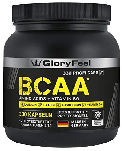 GloryFeel® BCAA 330 Kapseln - Der VERGLEICHSSIEGER 2019*- Essentielle Aminosäuren Leucin, Valin und Isoleucin Plus Vitamin B6 - Laborgeprüft und ohne Zusätze hergestellt in Deutschland