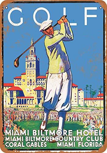 JIA KOAH 1932 Golf at Miami Biltmore Hotel Blechschild Metall dekorative Wand Poster Souvenir (Miami Art-deco-poster)