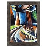 Bild auf Leinwand Canvas–Gerahmt–fertig zum Aufhängen–Gitarre Musik–Kubismus–Picasso Style Dimensione: 70x100cm D - Colore Nero Shabby