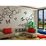 Decals Design 'Lovely Butterflies' Wall Sticker (PVC Vinyl, 60 cm x 90 cm, Black)