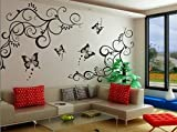 #7: Decals Design 'Lovely Butterflies' Wall Sticker (PVC Vinyl, 90 cm x 30 cm, Black)