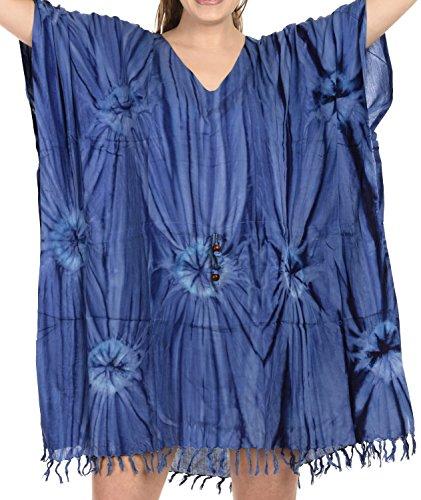 La Leela main cravate colorant bikini femmes couvrir beachwear maillot de bain blouse décontractée bleu royal