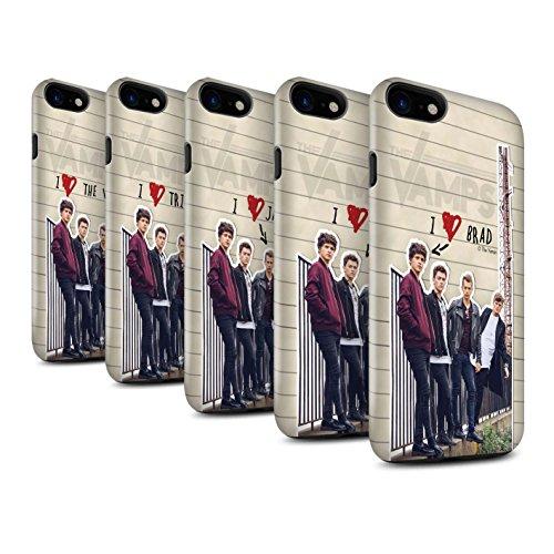 Officiel The Vamps Coque / Brillant Robuste Antichoc Etui pour Apple iPhone 7 / Brad Design / The Vamps Journal Secret Collection Pack 5pcs