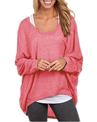 Yidarton Frauen Sexy Asymmetrisch Langarm Pullover Pulli Strickjacke Oversized Baggy Lose Jumper T- shirt Tops Bluse (Wassermelone,XXL)