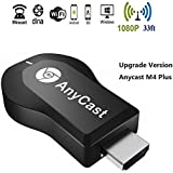 WIFI Display Dongle, Anycast M4 Plus 1080P Wireless Display Adapter Digital AV To HDMI Connector TV Receiver Stick For IOS/Android/Windows/MAC OSX/Projector,Support DLNA/Airplay Mirror/Miracast/Ezcast