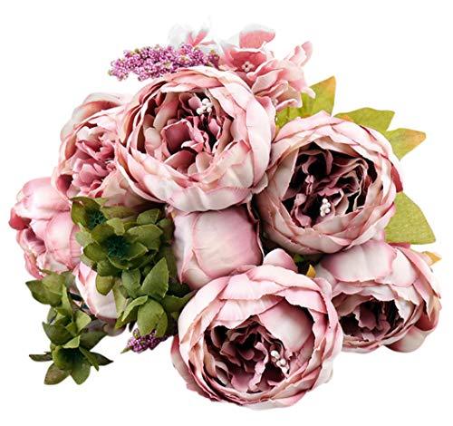 Jastore Vintage Künstliche Pfingstrose Seidenblumen Bouquet Home Party Hochzeit Dekoration One Size Cameo Brown