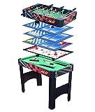 HLC® Mesa multijuegos 6 en 1 Con patas plegables incluye mesa de Billar,Mesa de ping pong,mesa de Air Hockey,Futbolín,Ajedrez y Backgammon