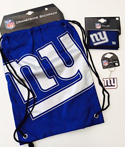 NFL 3-teiliges Geschenk-Set mit Kordelzug Rückseite Pack Nylon Brieftasche & Schlüssel Ring NEW YORK GIANTS (New York Giants Ring)