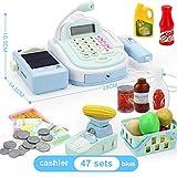 BOBORA Caja Registradora de Juguete con Productos de Supermercado Juguete Electrónico Educativo con Numerosas Funciones para Niño (Azul)