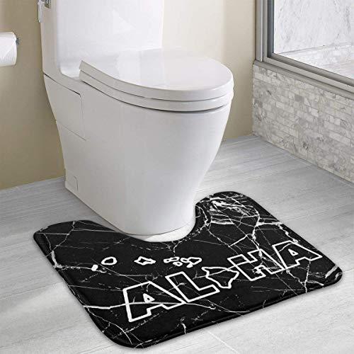 (Hoklcvd Aloha Hawaii Hawaiian Zeichnung U-förmige Toilette Boden Teppich Rutschfeste Toilette Teppiche Duschmatte)