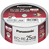 Panasonic Blu-ray BD-RE Recordable Disk | 25GB 2x Speed | 30 Pack in Spindle Ink-jet Printable