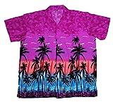 SAITARK Camisa Hawaiana para Hombre, diseño de Palmeras, para la Playa, Fiestas, Verano y Vacaciones - XL - Morado
