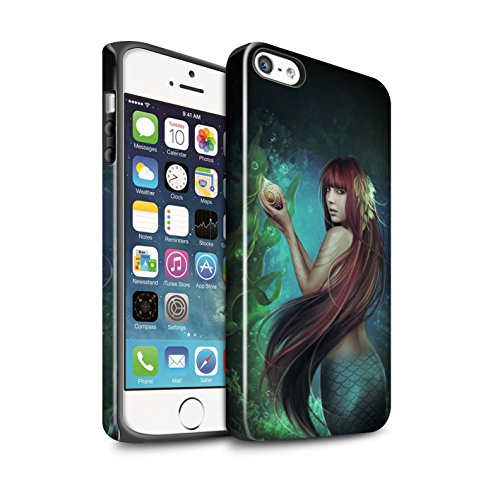 Officiel Elena Dudina Coque / Brillant Robuste Antichoc Etui pour Apple iPhone SE / Sous-Marin Design / Agua de Vida Collection Sirène/Shell
