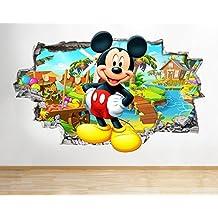 Z051Mickey Mouse Disney Niños Guardería adhesivo decorativo para pared Póster 3d art pegatinas habitación (Tamaño Mediano) (52x 30cm)