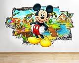 Z051Wandtattoo/Aufkleber mit Micky Maus-Motiv für das Kinderzimmer, 3D, für Jungen, Large (90x52cm)