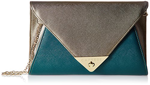 Caprese Audrey Women's Clutch (Metallic Bronze and Teal)  available at amazon for Rs.1649