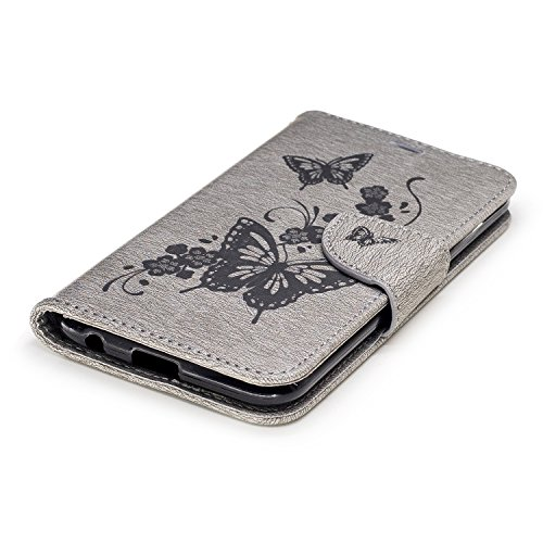 Coque iPhone 6 Plus,Flip Case iPhone 6 Plus Wallet Case Premium PU Protective Leather Case for iPhone 6 Plus Cover -Rouge Gris