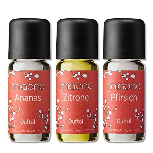 Duftöle von miaono - Wunderbare Welt der Düfte - Aromaöle für himmlichen Raumduft (Ananas-Pfirsich-Zitrone, 3er Set 3x10ml) (Zitrone Und Kokos-wasser)