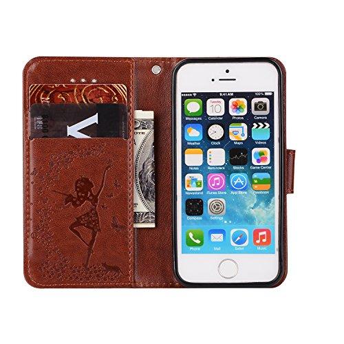 iPhone 5/5S Coque, Voguecase Etui pratique et original en cuir synthétique, avec fermeture à aimant, housse de protection interne silicon antichoc de qualité avec coque en internal silicone amovible p Fille et chat-Marron