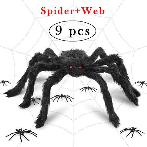 Halloween-Dekoration, realistische Spinnennetze - I-Tech Mace realistische haarige Spinnennetze für Halloween, Deko-Requisiten, Outdoor & Hof Spinnennetz (Riesigen Halloween Spinnennetz Dekoration)