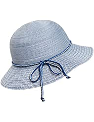 Kylin Express femmes Summer et UV pliable chapeau de paille plage soleil de mélange (Bleu)