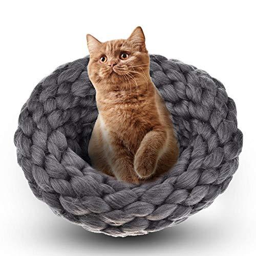 Kbsin212Winter Plüsch Warm Katze Nest aus Wolle Hand Stricken Katze Betten hickening Innen Wolle Schlafsack für Katzen und Kleine Hunde -